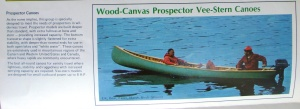 1975 Chestnut Canoe Company catalogue description of the Chestnut Prospector Vee-Stern Canoe featuring a picture of the 18' model mounted with an outboard motor.